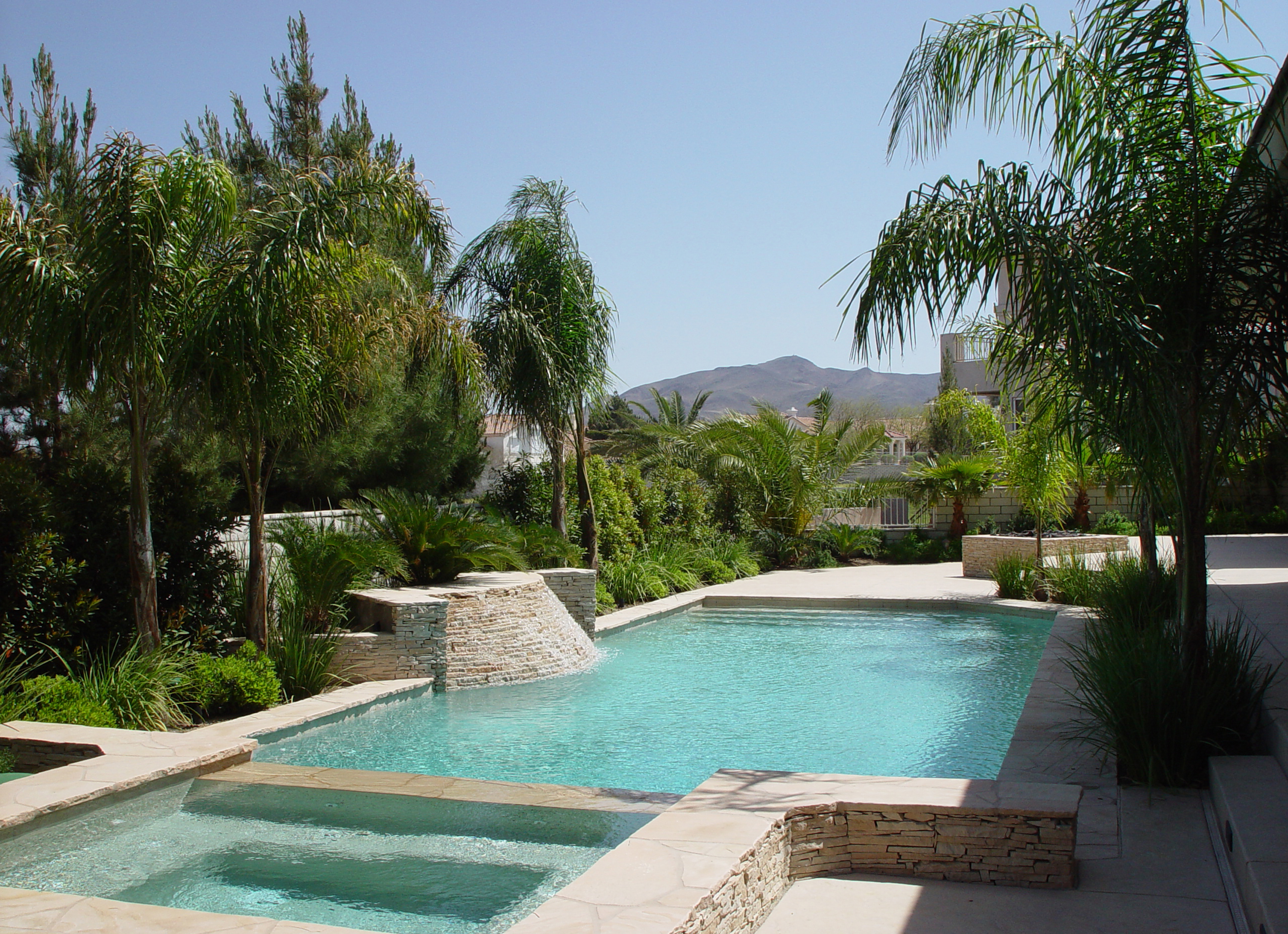 Tropical Landscape Styles - Jeff Lee Landscaping - Las ... on Tropical Backyard  id=55196